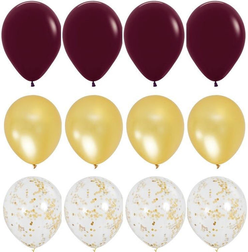 Rich Burgundy and Gold Balloon Bouquet - 24ct balloon arch and garland shimmer and confetti balloons unicorn baby shower bridal shower party supplies birthday decoration first