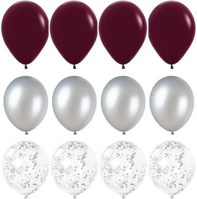 Rich Burgundy and Silver Balloon Bouquet - 24ct balloon arch and garland shimmer and confetti balloons unicorn baby shower bridal shower party supplies birthday decoration first