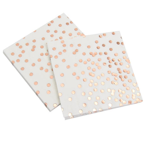 Rose Gold Polka Dot Disposable Paper Towels 12ct - Shimmer & Confetti