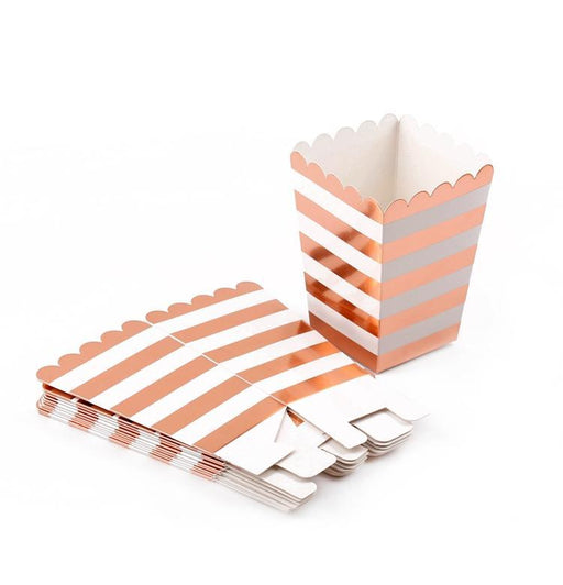 Rose Gold Popcorn Boxes 12ct - Shimmer & Confetti