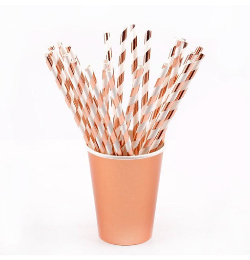 Rose Gold Striped Straws 12ct - Shimmer & Confetti