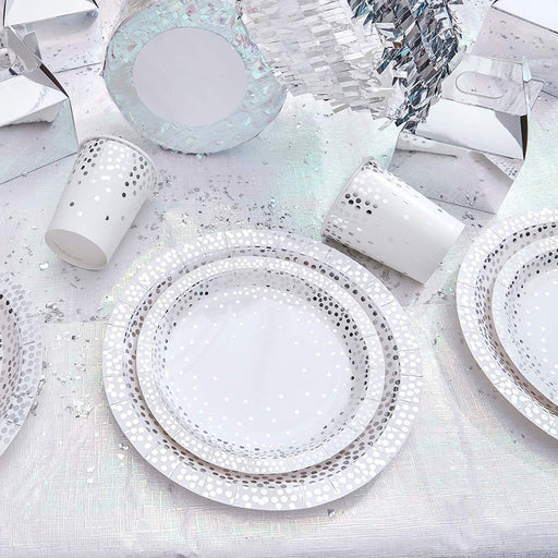 Silver Polka Dot Dinner Plates 12ct balloon arch and garland shimmer and confetti balloons unicorn baby shower bridal shower party supplies birthday decoration first