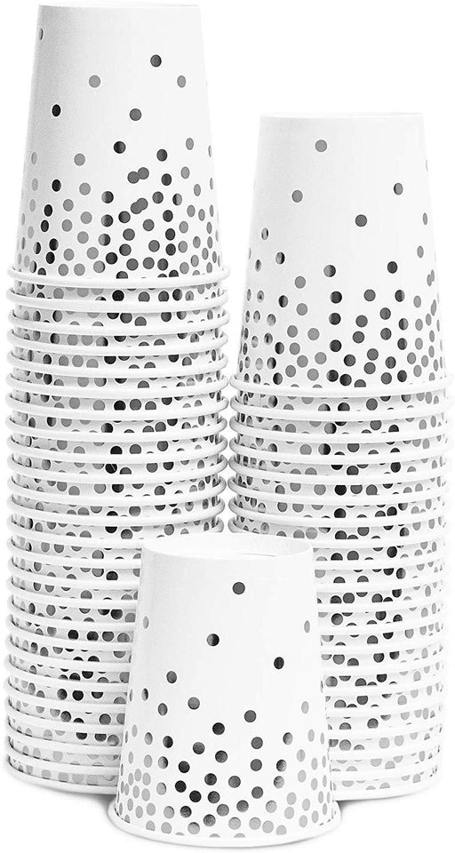 Silver Polka Dot Party Cups 12ct - Shimmer & Confetti