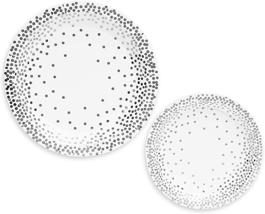 Silver Polka Dot Side Plates 12ct - Shimmer & Confetti