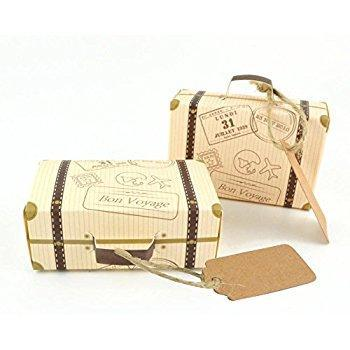 Vintage Airplane Suitcase Favor Boxes 25ct - Shimmer & Confetti