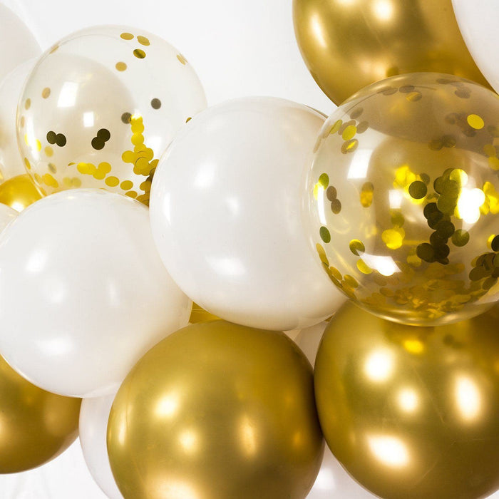 White and Gold Balloon Arch and Garland Kit (5, 10, 16 foot) - Shimmer & Confetti