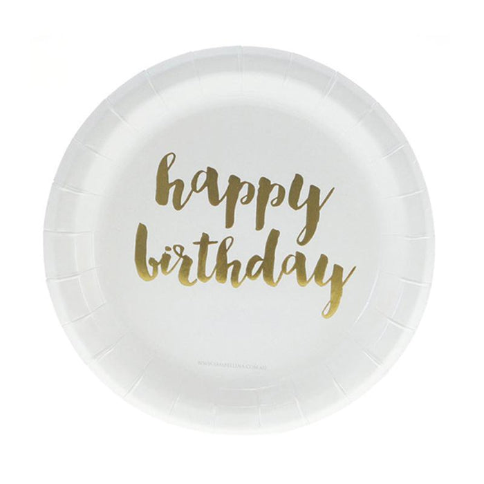 White and Gold Birthday Plates 12ct balloon arch and garland shimmer and confetti balloons unicorn baby shower bridal shower party supplies birthday decoration first