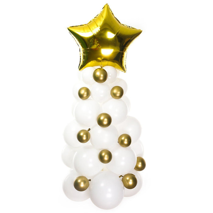 White and Gold Christmas Balloon Tree Kit balloon arch and garland shimmer and confetti balloons unicorn baby shower bridal shower party supplies birthday decoration first