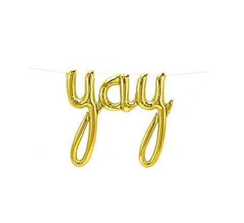 Yay Script Gold Foil Balloon balloon arch and garland shimmer and confetti balloons unicorn baby shower bridal shower party supplies birthday decoration first