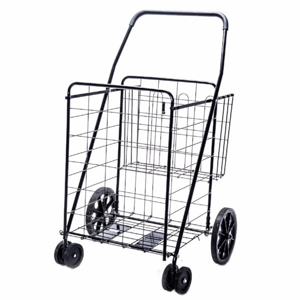 Folding Shopping Cart with Dual Swivel Wheels and Double