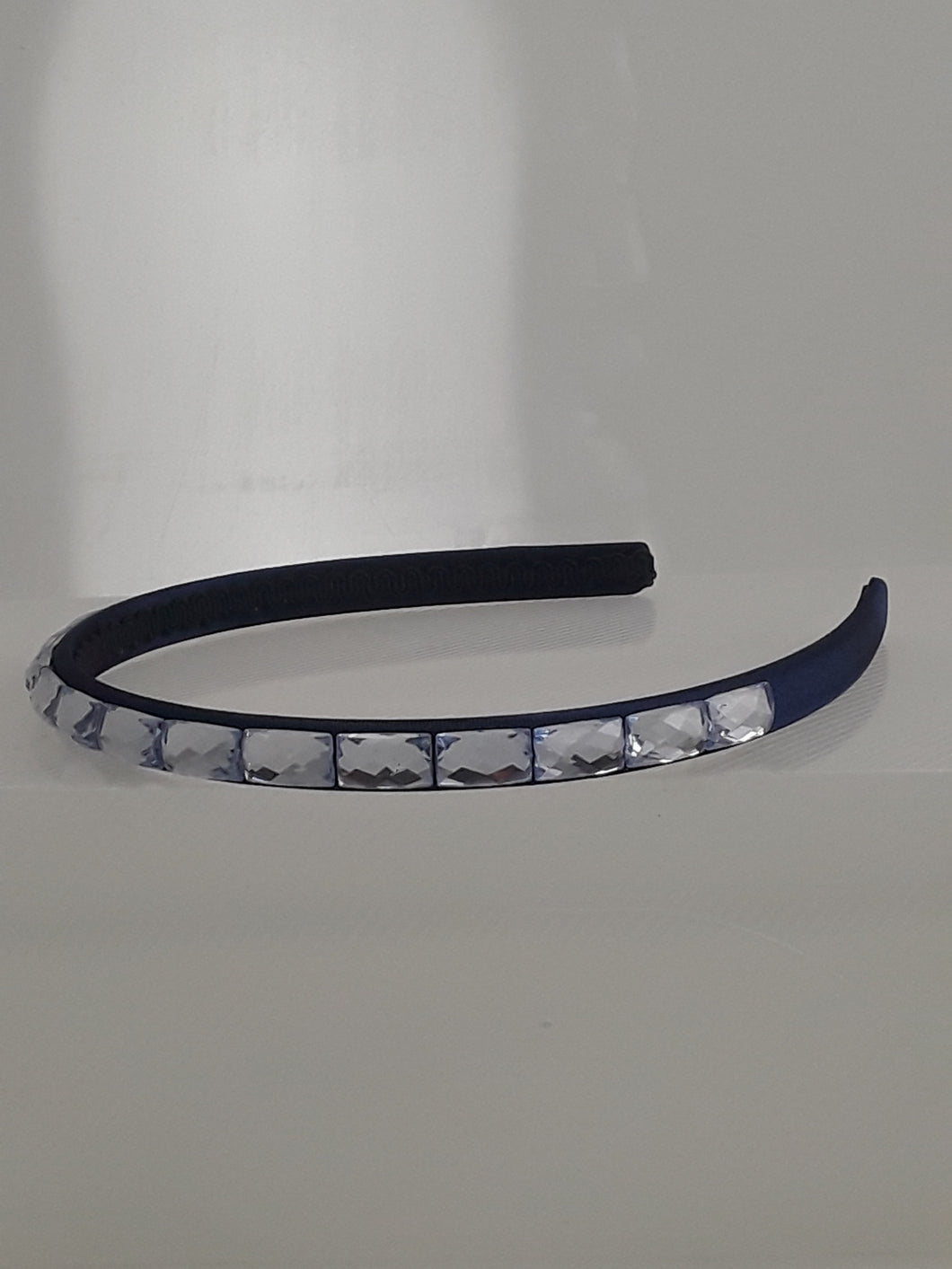 Navy Blue Headband with Light Blue Rhinestones