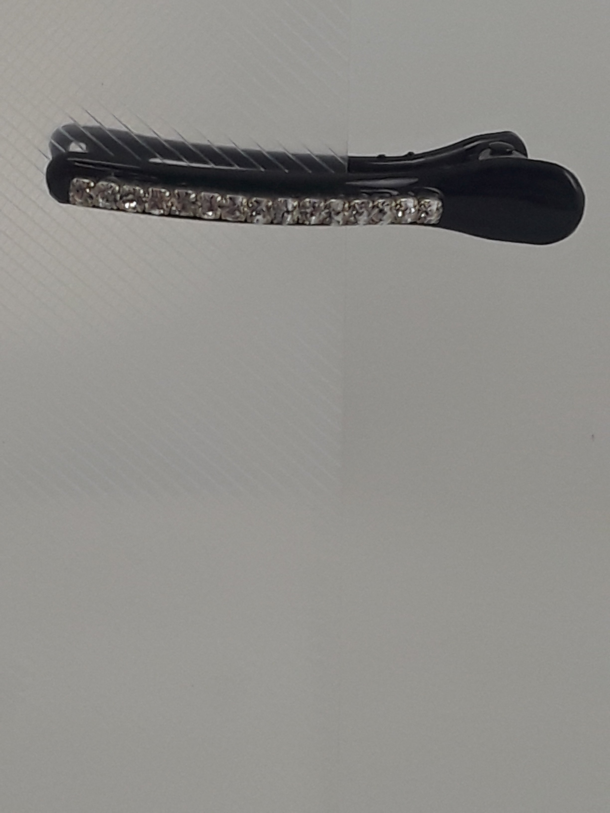 Black Hair Clip with Diamond Studs