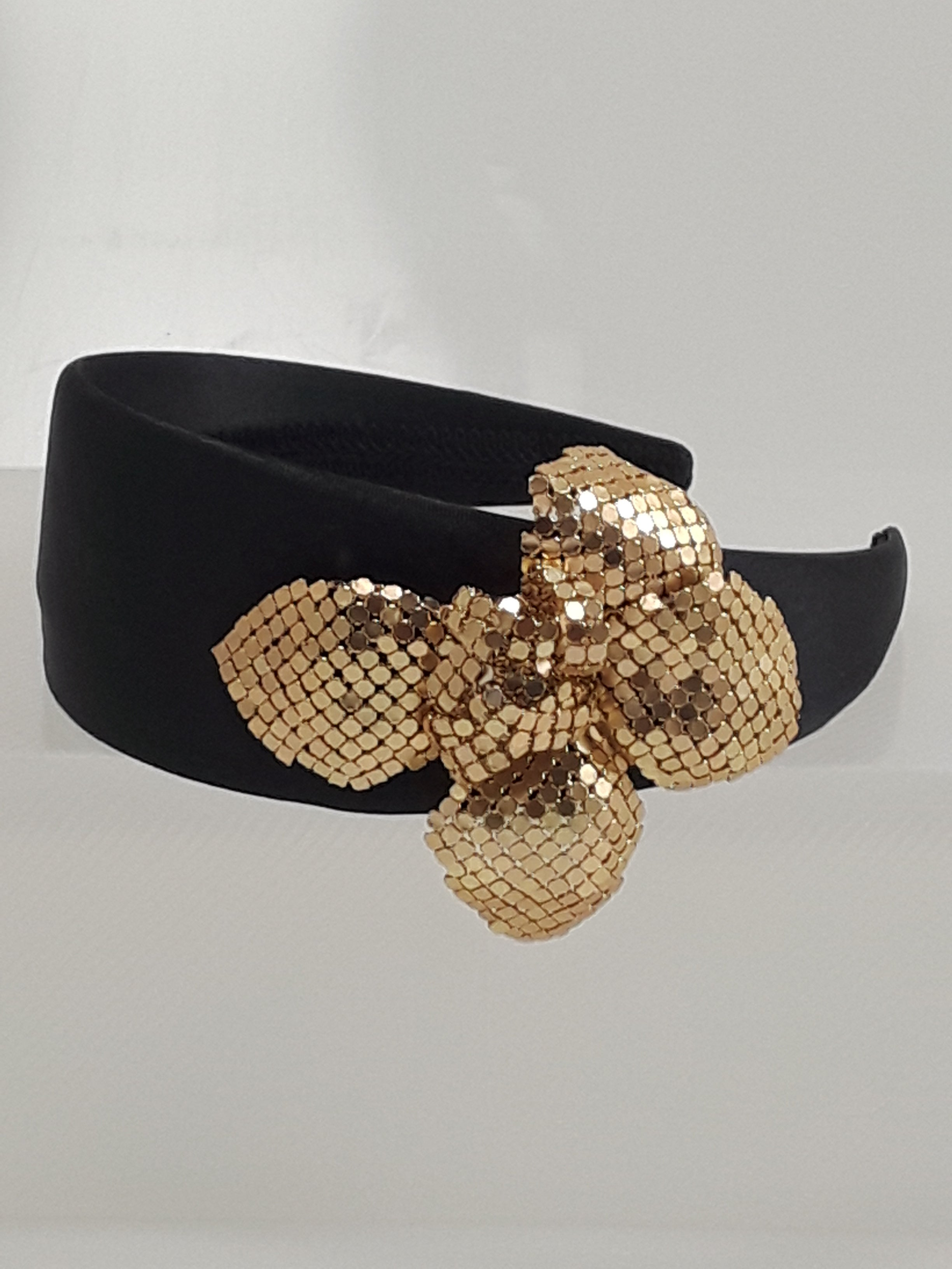Wide Black Satin Band with Large Gold Flower