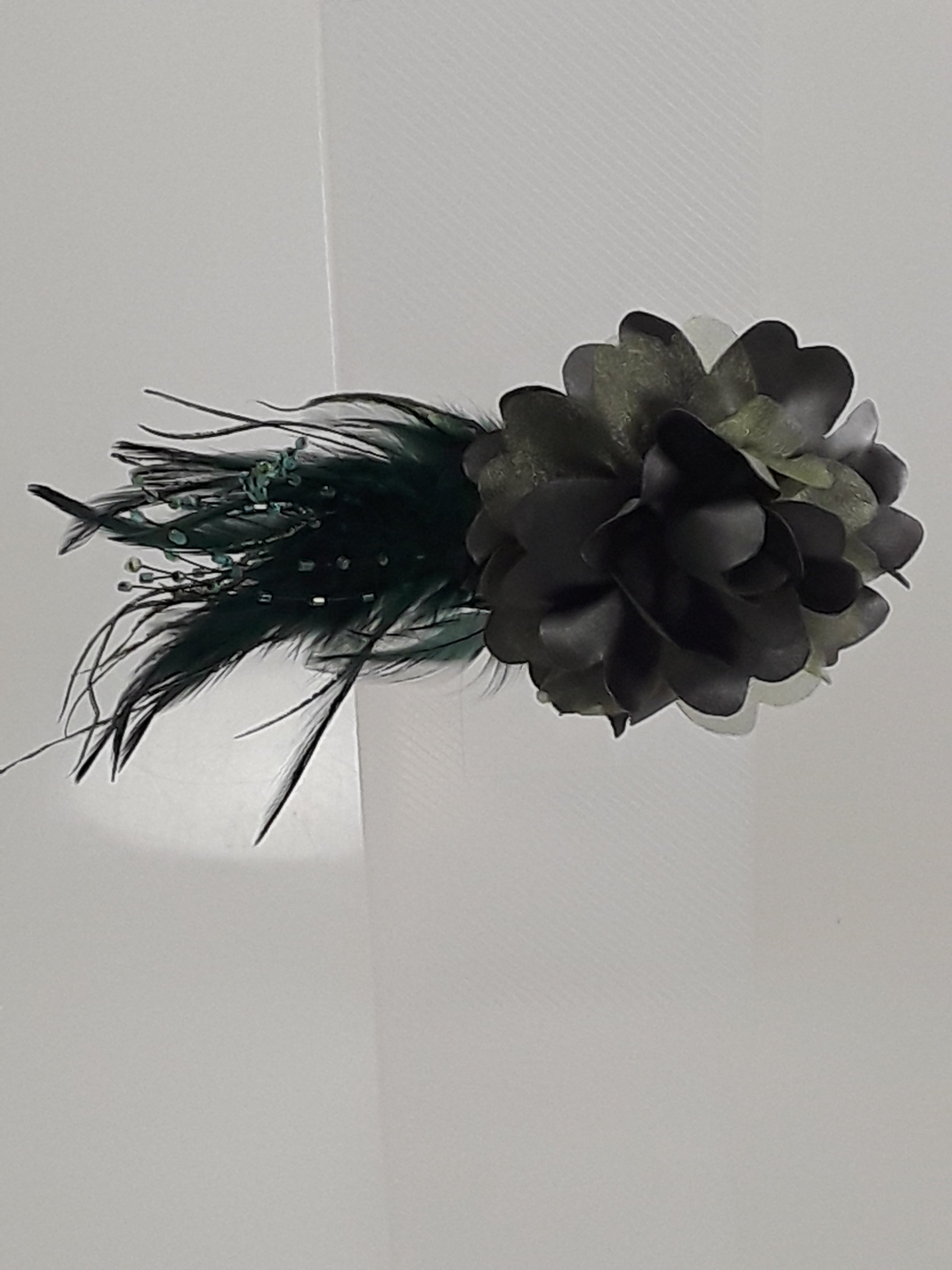 Ruffle Flower Hair Clip With Beaded Feather Tail Whirlastyle