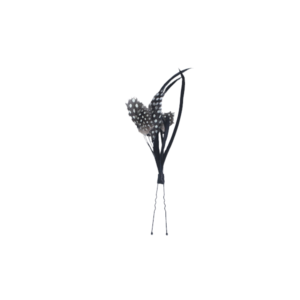 Black and White Polk-a-Dot Feather Hairpin