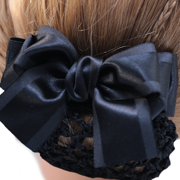 Bun Cover Black Bow with Crochet Netting