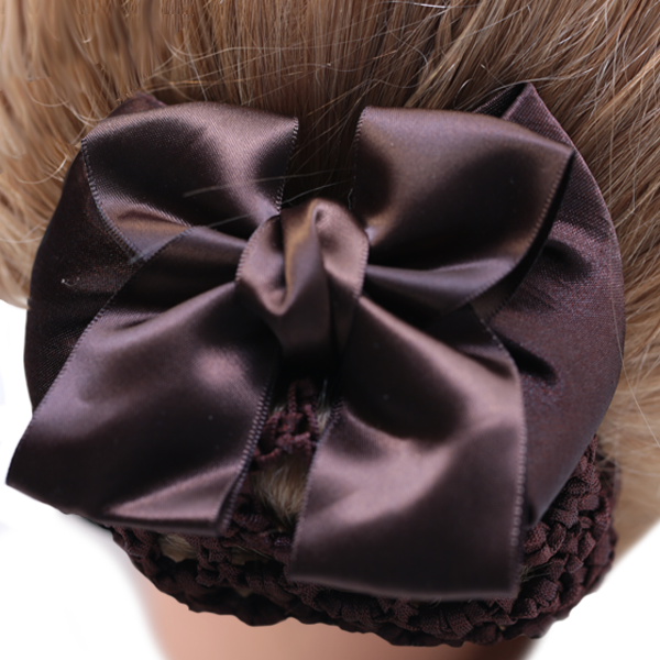 Bun Cover Dark Brown Bow with Crochet Netting