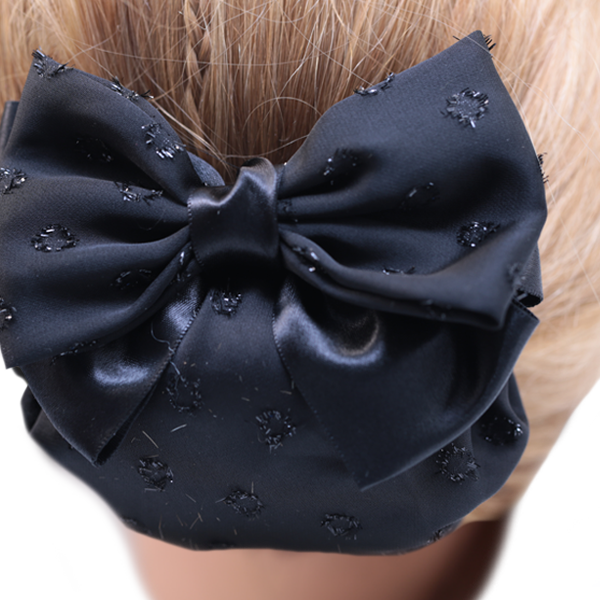 Bun Cover Large Glitter Dots Bow with Netting