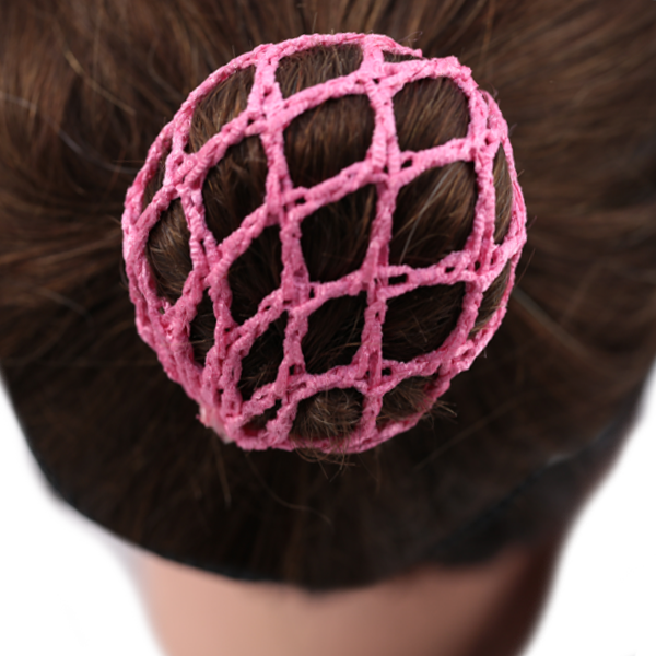 Bun Cover with Crochet Netting Fuchsia