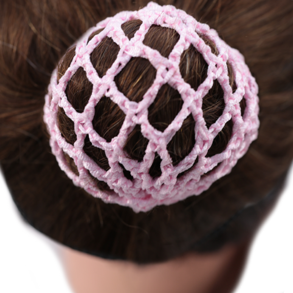 Bun Cover With Crochet Netting Light Pink Whirlastyle