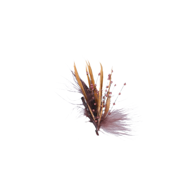 Copper Feather Pedal Hair Accent Resting on Bed of Feathers