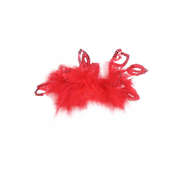 Red Feather Hairpin with Beads