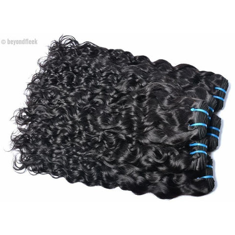 100% Human Indian Water Wave Hair Extensions 1 Bundle Natural Color 1b