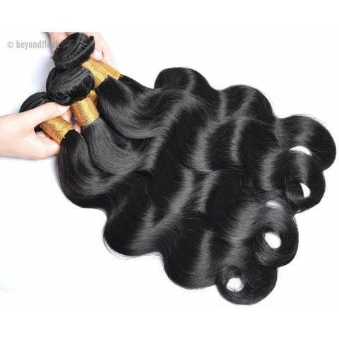 Brazilian Body Wave Human Hair Bundles With Free Part Closure Color 1B