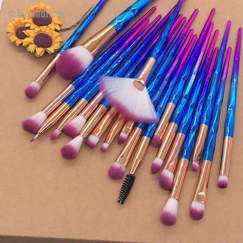 20pcs Purple Diamond Beauty Contour Makeup Brush Set