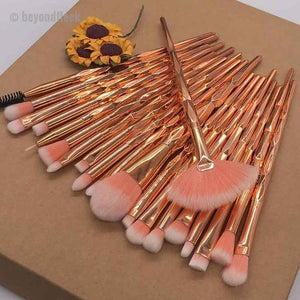 20pcs Rose Gold Diamond Beauty Contour Makeup Brush Set