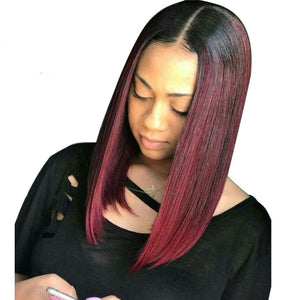 T1B/Burgundy Ombre Lace Front 100% Human Brazilian Remy Bob Wig