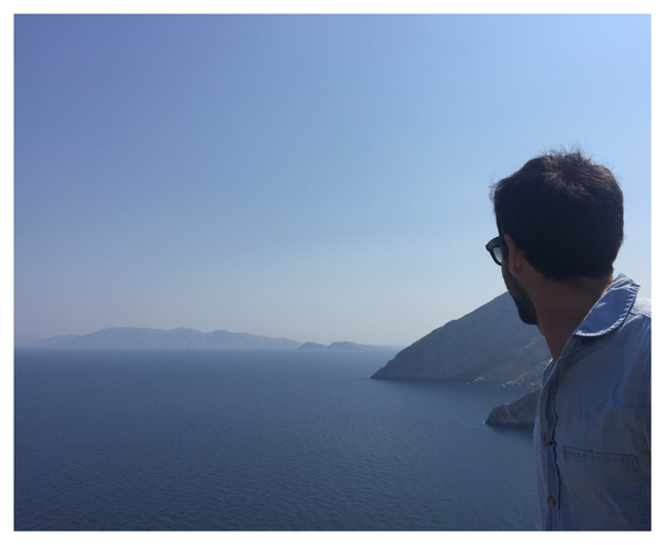 Looking over Greek islands in the Aegean sea