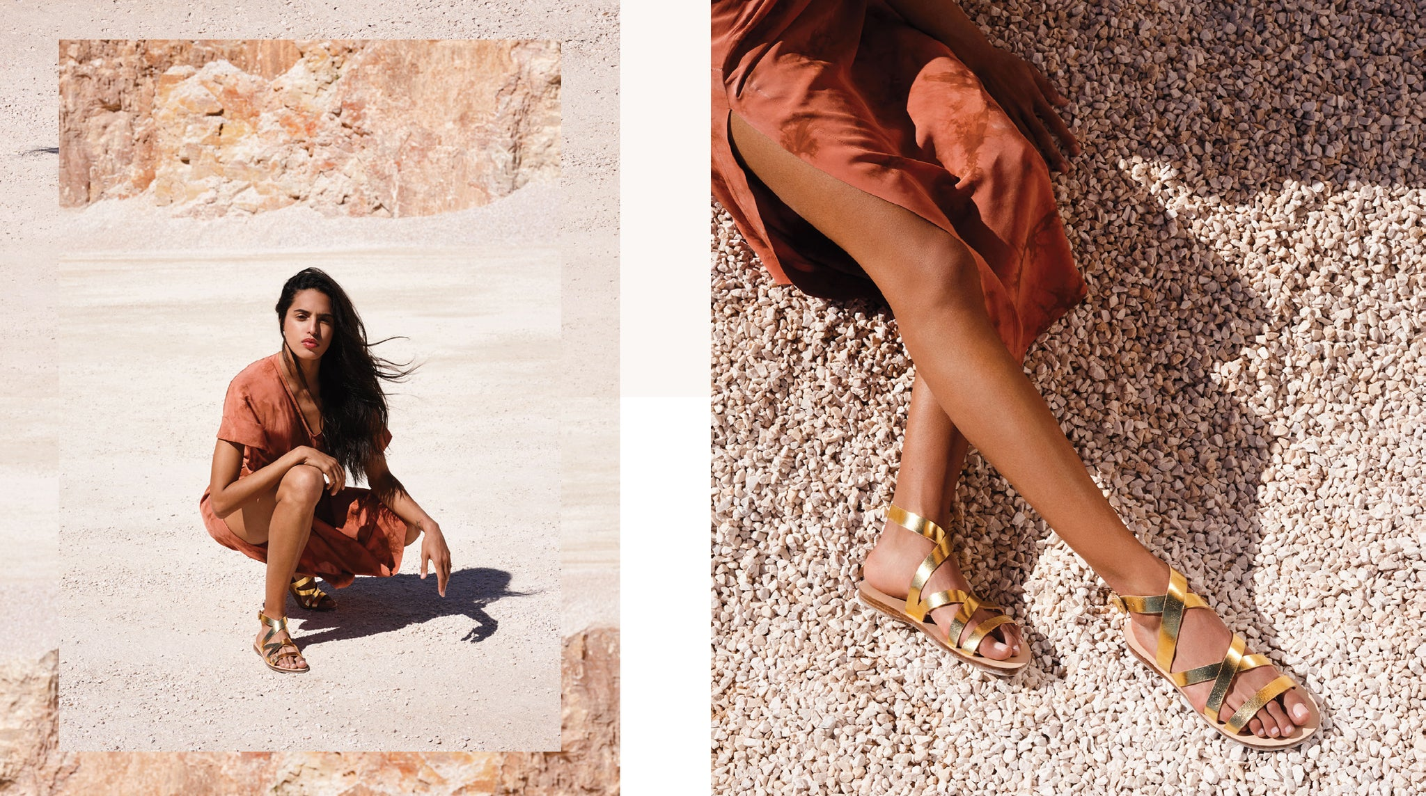 Athina wearing greek leather sandals in stone quarry. Sandal photoshoot.