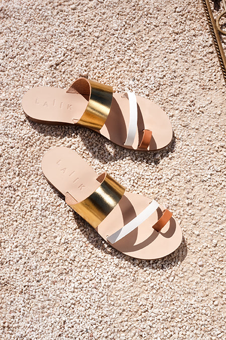 Handmade Greek sandals in metallic gold, white and natural