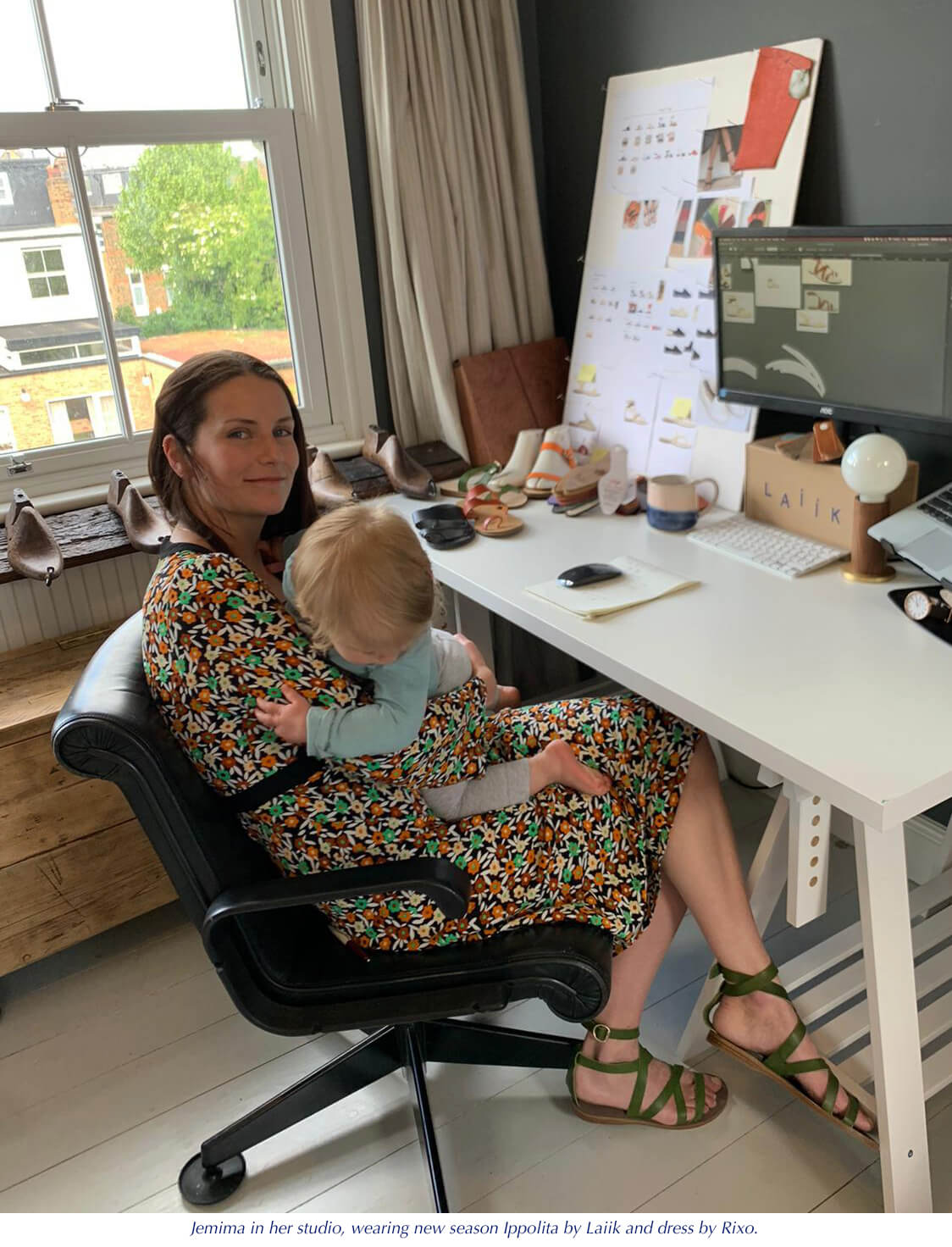 Jemima with daughter in her design studio, greek sandals