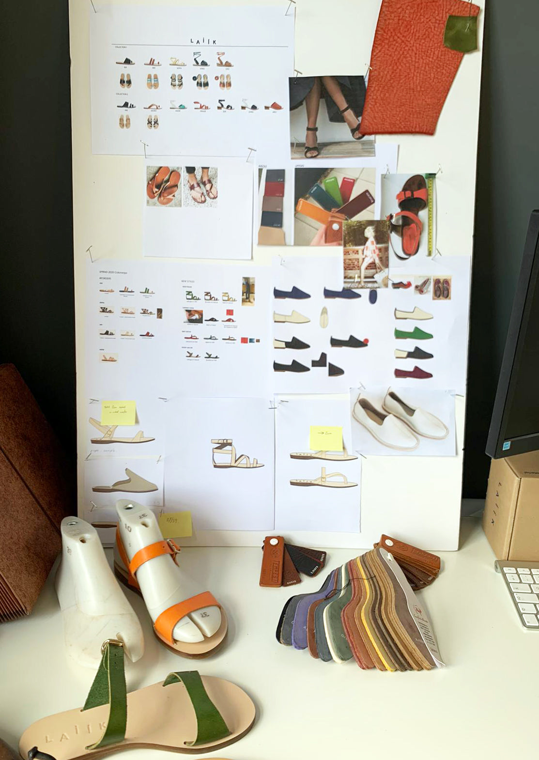 Moodboard Studio Design, leather swatches and sandal prototypes