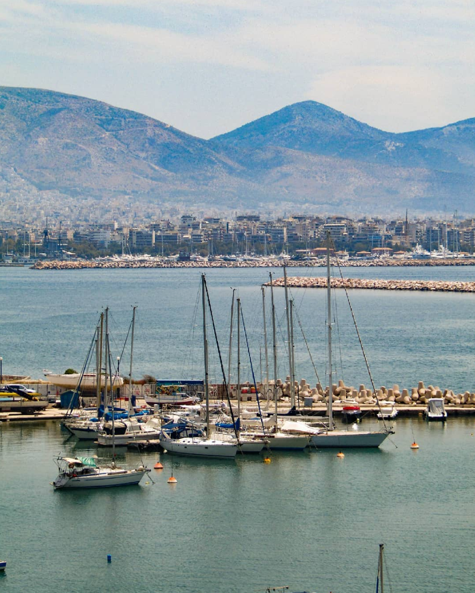 View of Kastella, Piraeus, and boats in Greece