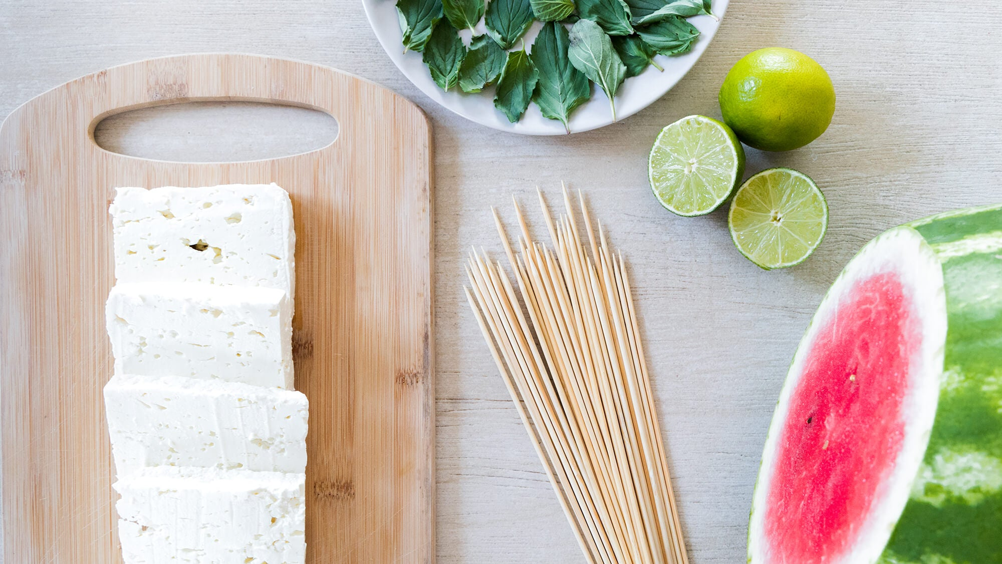 watermelon and greek feta cheese, mint and lime