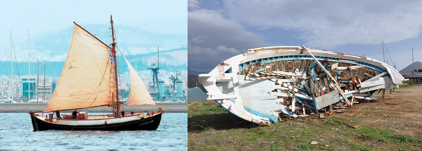 the traditional handmade Kaikia, or Greek fishing boats.