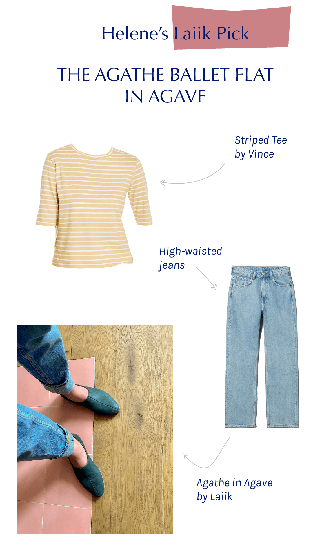The Agathe ballet flat in Agave paired with high-waisted jeans and a striped shirt by Vince