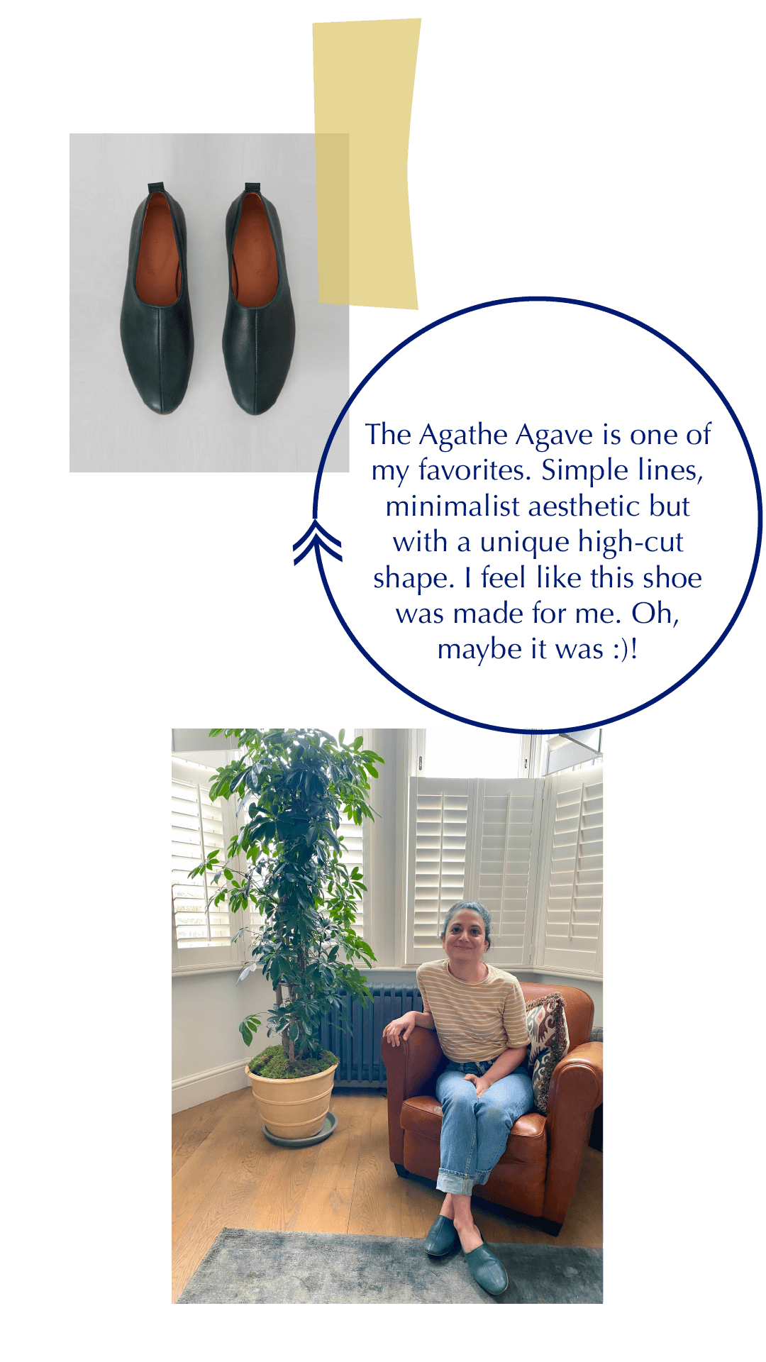 The Agathe ballet-flat is made with vegetable-tanned italian leather and features a unique, high-cut silhouette and a minimalist aesthetic.