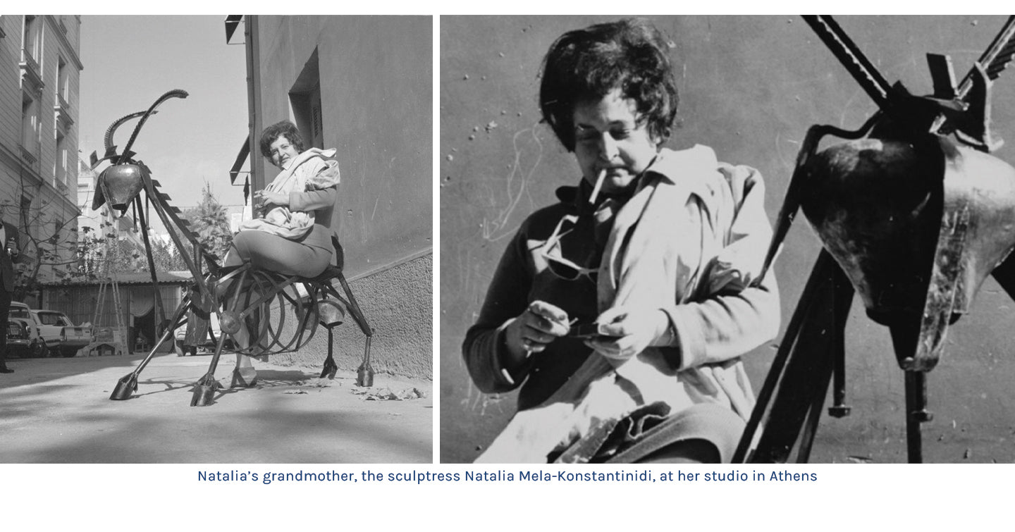 Natalia's grandmother, the sculptress Natalia Mela-Konstantinidi, at her studio in Athens