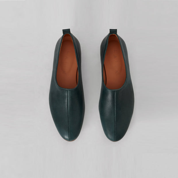 agave green-blue leather ballet flat