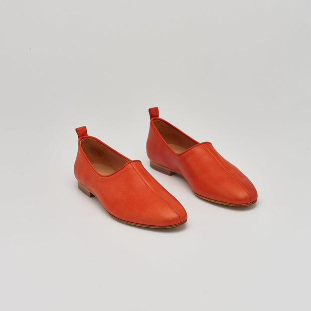 red leather ballet flat