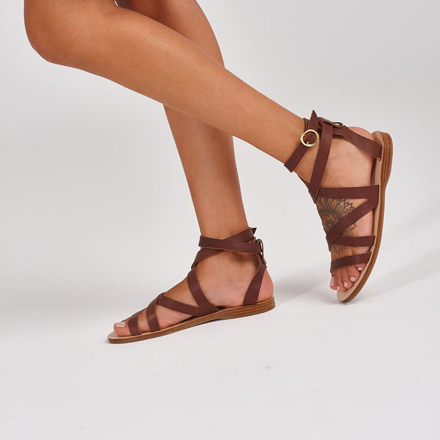gladiator sandal, greek sandal in brown