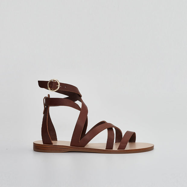 Brown Gladiator Sandal, Made in Greece