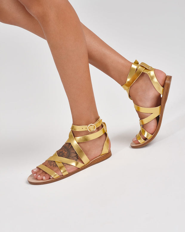 gladiator sandal, greek sandal in metallic gold