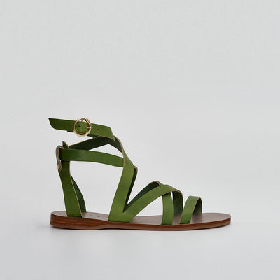 gladiator sandal, greek sandal in green