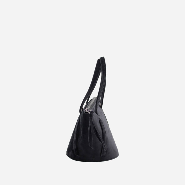 handmade bucket bag in black velvet