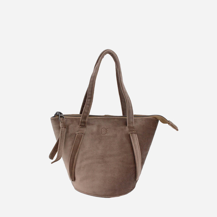 handmade bucket bag in taupe velvet
